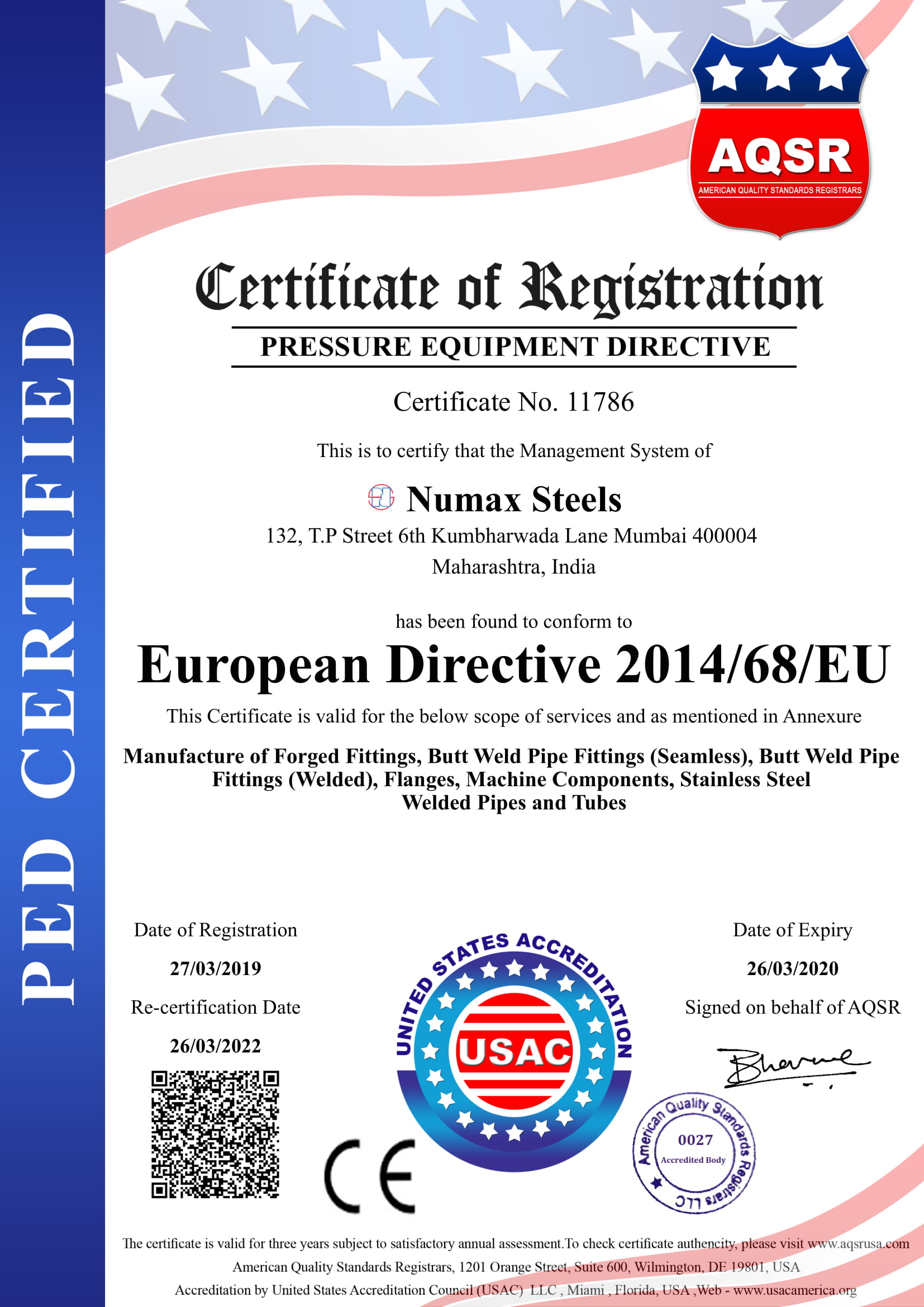 Numax Steels PED